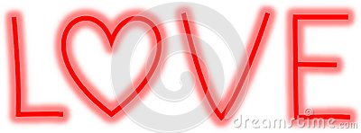 Neon letters LOVE with heart as O Stock Photo