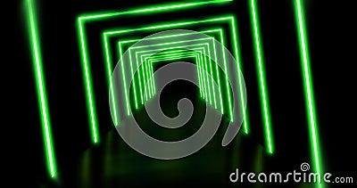 Neon licht een vierkant futuristisch abstract patroon aan - 4K lijn stock footage