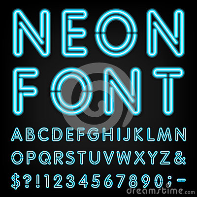 Free Neon Light Alphabet Vector Font Royalty Free Stock Images - 53211729
