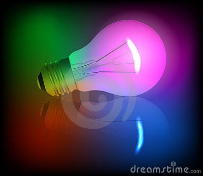 Neon light bulb illustration