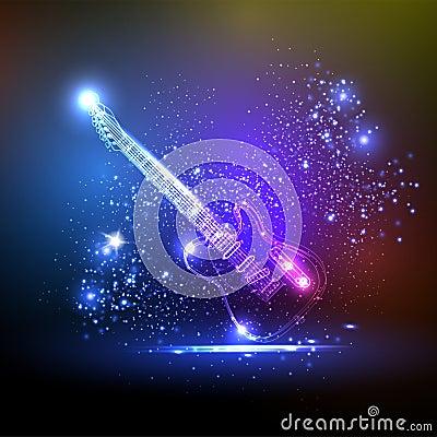Free Neon Light Guitar Stock Image - 24619941
