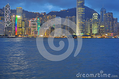 Neon lights at Hong Kong Harbour buildings Editorial Photo