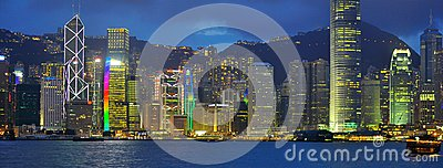 Neon lights at Hong Kong Harbour buildings Editorial Photography