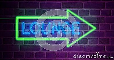 Neon lounge-skylt med glödande text visar flygplatslist för relaxering - 4 k stock video