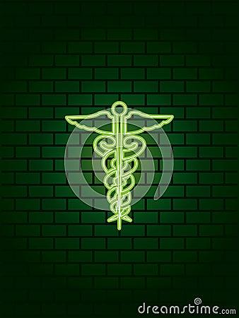 Neon medical symbol