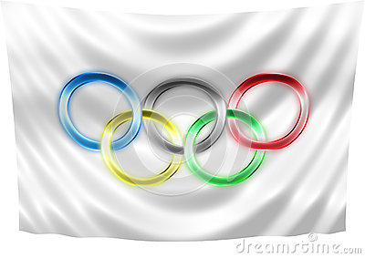 Neon Olympic flag Editorial Photography