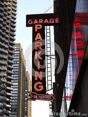 Neon Parking Garage Sign