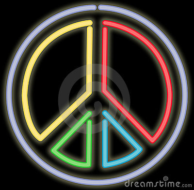 Free Neon Peace Sign Royalty Free Stock Image - 322556