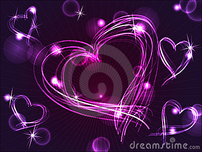 Neon or plasma purple hearts