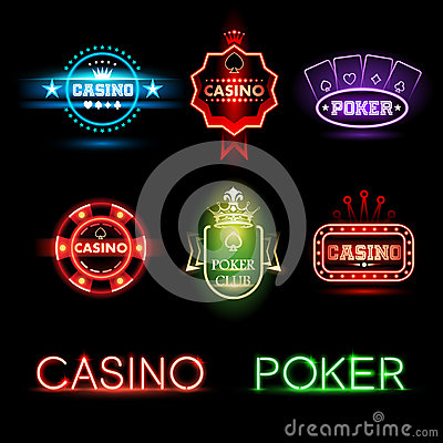 Free Neon Poker And Casino Emblems Stock Images - 64783814