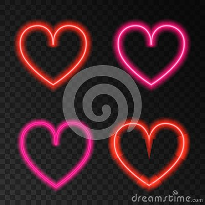 Free Neon Red And Pink  Heart. Stock Photos - 108716373