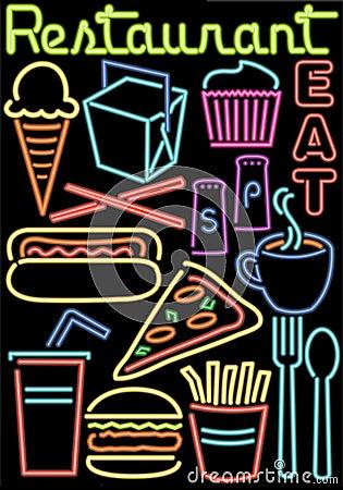 Neon Restaurant/Food Symbols/ai