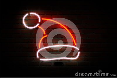 Neon Santa Claus hat. Happy new Year theme Vector Illustration