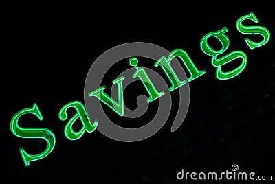 Neon Savings Sign