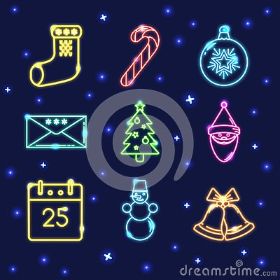 Free Neon Set Of Shining Christmas Icons In Line Style Stock Images - 106255344