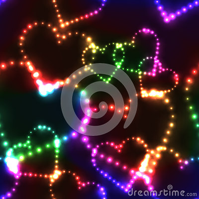 Free Neon Shinning Colorful Hearts On Dark Background Royalty Free Stock Photography - 66533637
