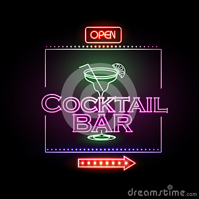 Free Neon Sign Cocktail Bar Stock Photography - 58575582