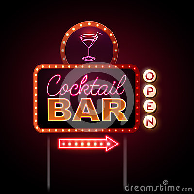 Free Neon Sign Cocktail Bar Royalty Free Stock Photos - 58576518