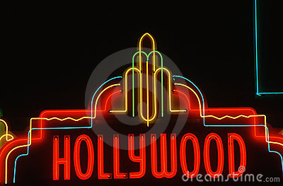 Neon sign of Hollywood, CA Editorial Stock Photo