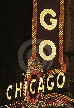 Neon sign that says Chicago of Chicago Theatre Editorial Image