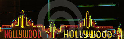 Neon sign that says Hollywood