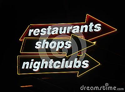Neon signs at nightlife hotspot