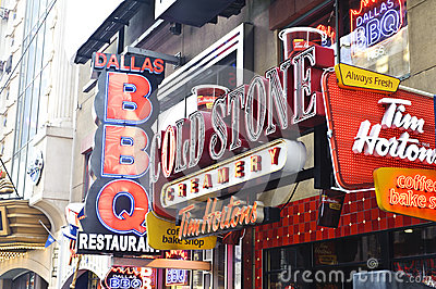 Neon signs in times square Editorial Stock Photo