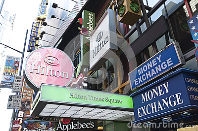 Neon signs in times square Editorial Image