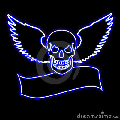 Neon skull with wings over a banner