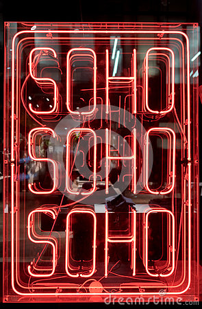 Free Neon Soho Sign Royalty Free Stock Images - 80319449