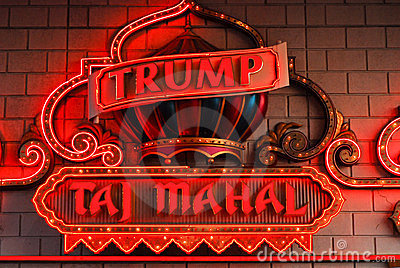 Neon for Trump s Taj Mahal, Atlantic City, NJ. Editorial Photography