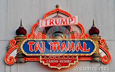 Neon for Trump s Taj Mahal, Atlantic City, NJ. Editorial Photography