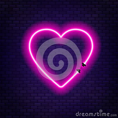 Free Neon Tubes In The Shape Of A Heart Isolated On A Brick Wall Background. Sign Of Love. Royalty Free Stock Photo - 123472445
