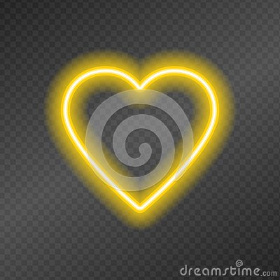 Free Neon Tubes In The Shape Of A Heart On A Dark Transparency Grid. Royalty Free Stock Photography - 123472447