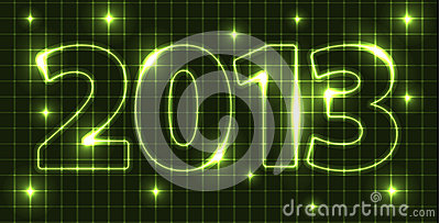 Neon Vector New Year card 2013