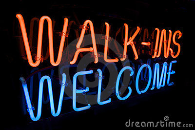 Neon Walk In s Welcome sign