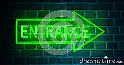 Neonowy znak wejściowy nad oświetlonymi drzwiami, jak w interesach - 4k zbiory
