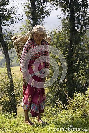 Nepal - Elderly woman in Kathmandu Valley Editorial Stock Image