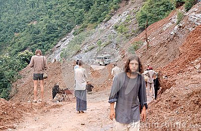 1975. Nepal. Landslide. Editorial Photo