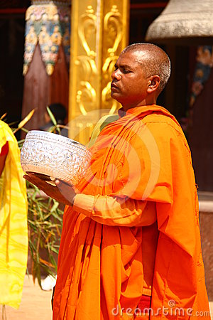 Nepal monks in bright orange clothes Editorial Image