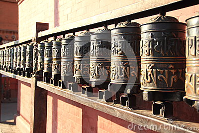 Nepal. Prayer wheels .