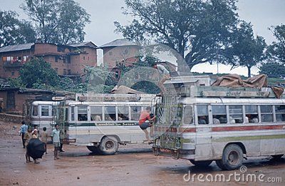 1975. Nepal. Tansing, bus station. Editorial Stock Photo