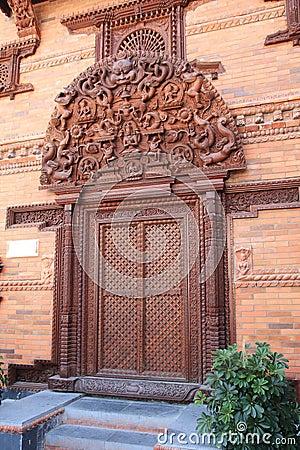 Nepal wooden door