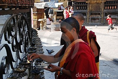 Nepali monks Editorial Stock Photo