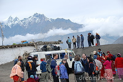 Nepali people and tourists taking the local ride Editorial Photography