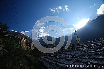 Nepali rooftop and snow peaks