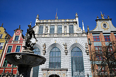 Neptune fountain on Dluga street Gdansk