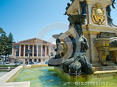 Neptune fountain in front of Ilya Chavchavadze State Drama Theat Editorial Stock Photo