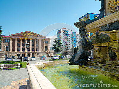 Neptune fountain in front of Ilya Chavchavadze State Drama Theat Editorial Photography
