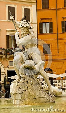 Neptune Fountain, Piazza Navova, Rome, Italy